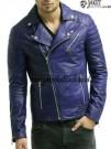 Jaket Kulit Biru Ramones Pria A981